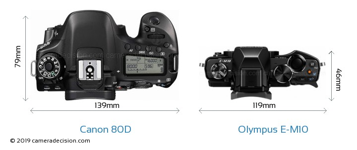 Canon 80D vs Olympus E-M10 Camera Size Comparison - Top View