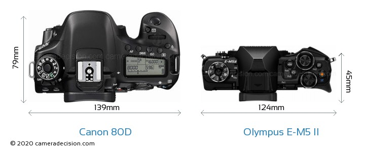 Canon 80D vs Olympus E-M5 II Camera Size Comparison - Top View