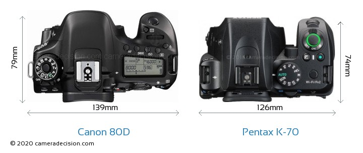 Canon 80D vs Pentax K-70 Camera Size Comparison - Top View