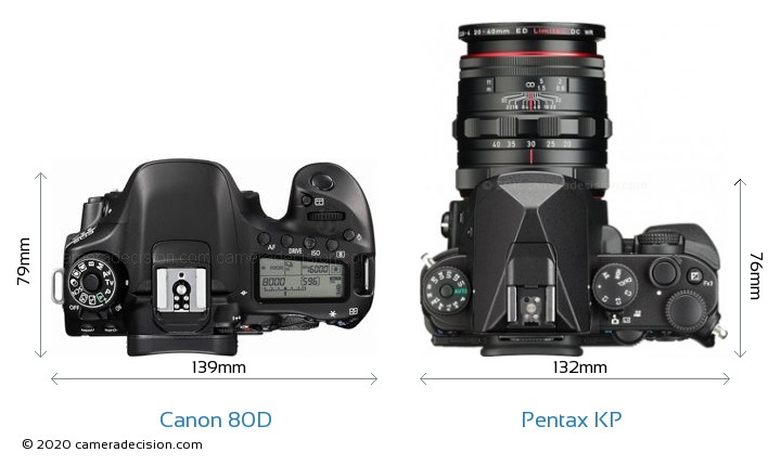 Canon 80D vs Pentax KP Camera Size Comparison - Top View
