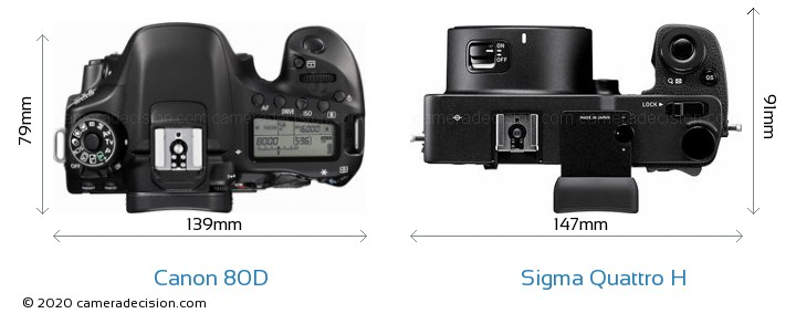 Canon 80D vs Sigma Quattro H Camera Size Comparison - Top View