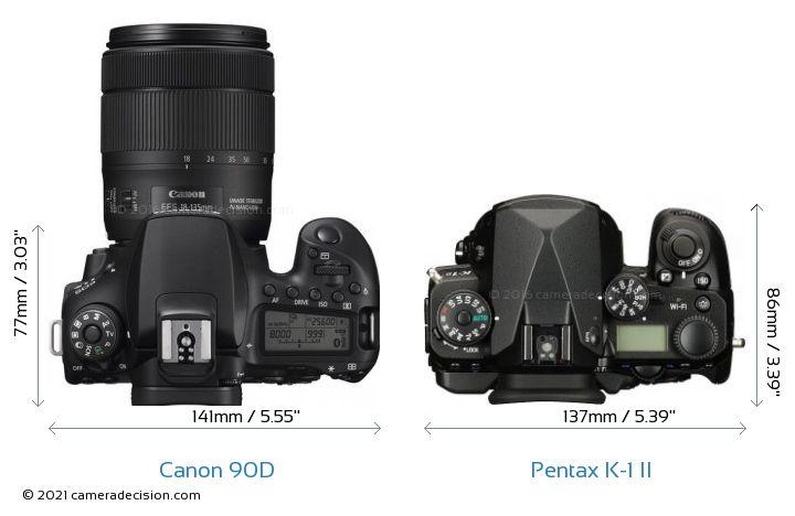 Canon 90D vs Pentax K-1 II Camera Size Comparison - Top View