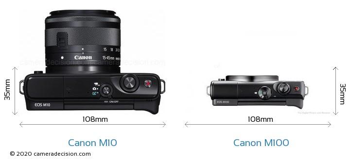 Canon M10 vs Canon M100 Camera Size Comparison - Top View
