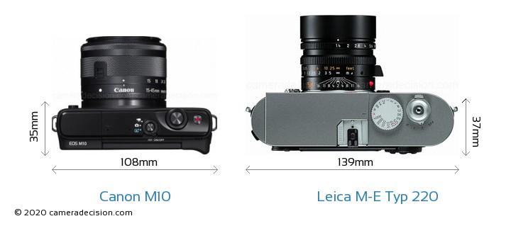 Canon M10 vs Leica M-E Typ 220 Camera Size Comparison - Top View
