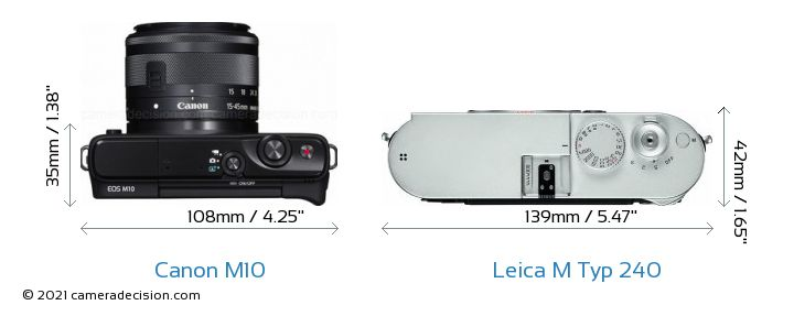 Canon M10 vs Leica M Typ 240 Camera Size Comparison - Top View
