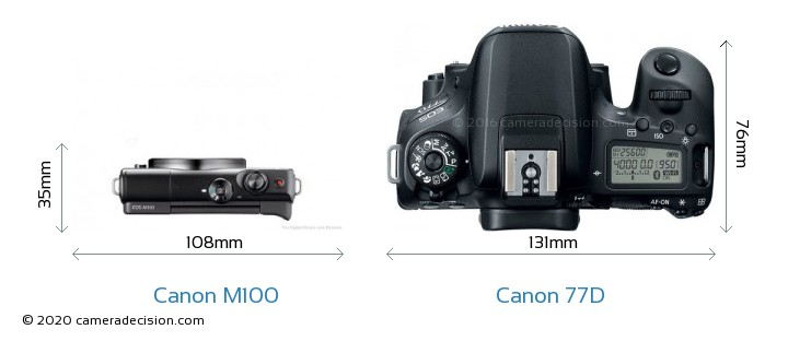 Canon M100 vs Canon 77D Camera Size Comparison - Top View