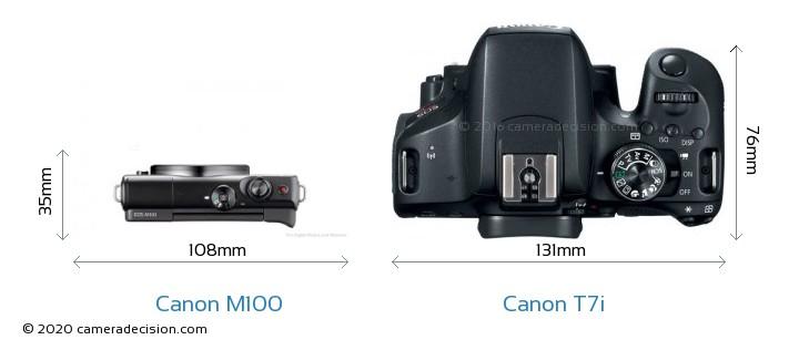 Canon M100 vs Canon T7i Camera Size Comparison - Top View