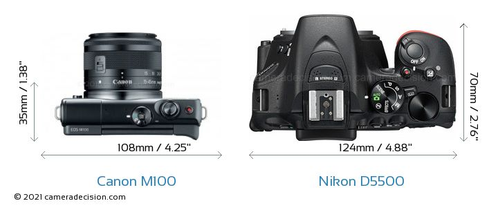 Canon M100 vs Nikon D5500 Camera Size Comparison - Top View
