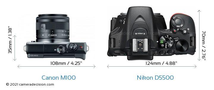 Canon M100 vs Nikon D5500 Camera Size Comparison - Top View