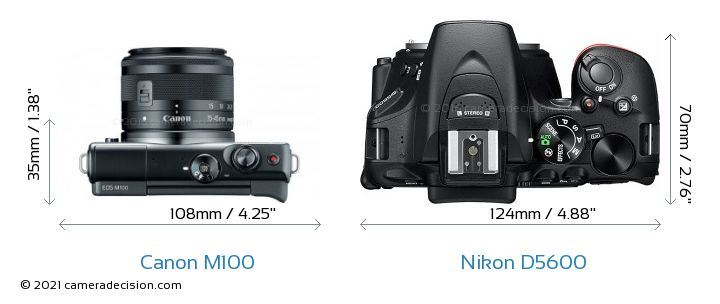 Canon M100 vs Nikon D5600 Camera Size Comparison - Top View