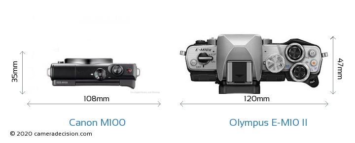 Canon M100 vs Olympus E-M10 II Camera Size Comparison - Top View