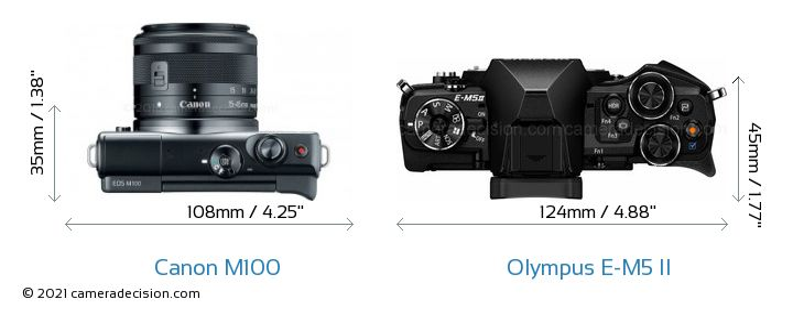 Canon M100 vs Olympus E-M5 II Camera Size Comparison - Top View