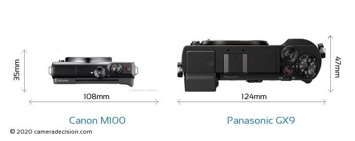 Canon M100 vs Panasonic GX9 Camera Size Comparison - Top View