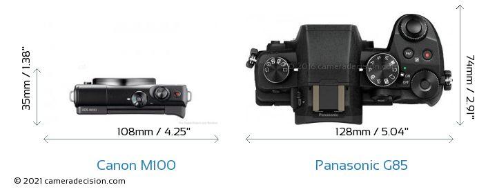 Canon M100 vs Panasonic G85 Camera Size Comparison - Top View
