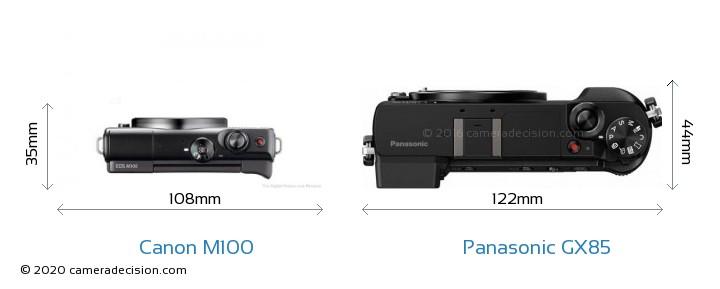 Canon M100 vs Panasonic GX85 Camera Size Comparison - Top View