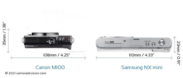 Canon M100 vs Samsung NX mini Camera Size Comparison - Top View