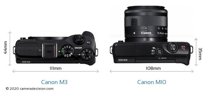 Canon M3 vs Canon M10 Camera Size Comparison - Top View