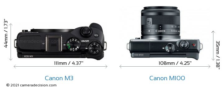Canon M3 vs Canon M100 Camera Size Comparison - Top View