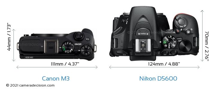 Canon M3 vs Nikon D5600 Camera Size Comparison - Top View