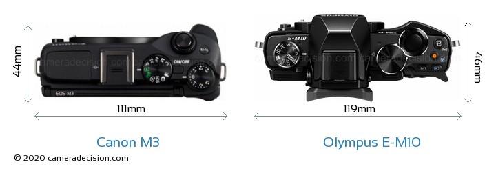Canon M3 vs Olympus E-M10 Camera Size Comparison - Top View