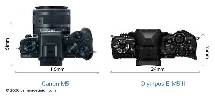 Canon M5 vs Olympus E-M5 II Camera Size Comparison - Top View
