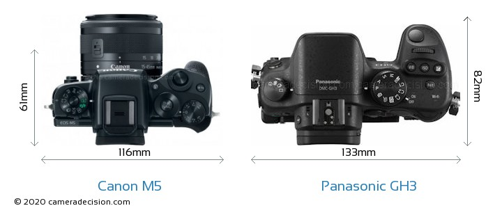 Canon M5 vs Panasonic GH3 Camera Size Comparison - Top View