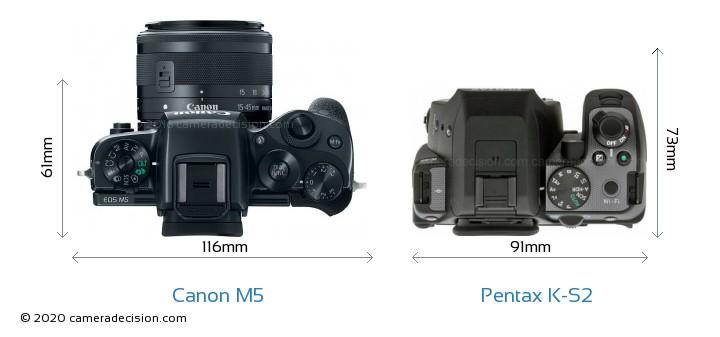 Canon M5 vs Pentax K-S2 Camera Size Comparison - Top View