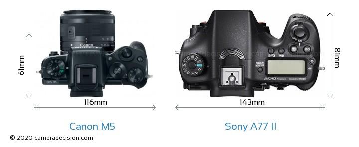 Canon M5 vs Sony A77 II Camera Size Comparison - Top View