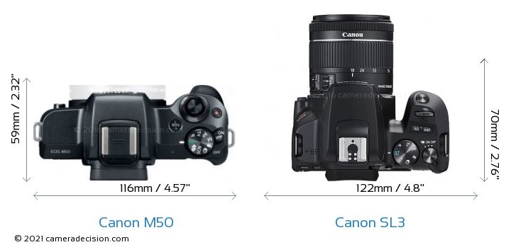 Canon M50 vs Canon SL3 Camera Size Comparison - Top View