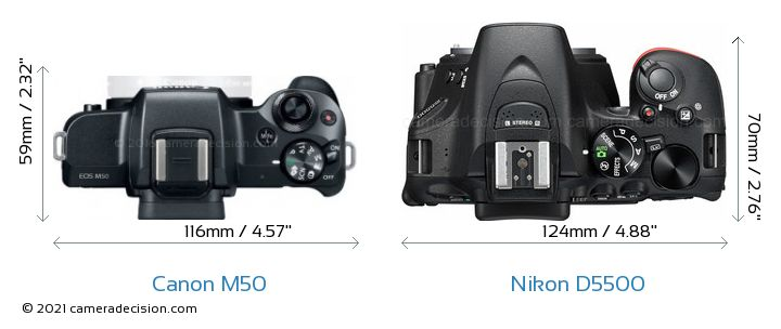 Canon M50 vs Nikon D5500 Camera Size Comparison - Top View