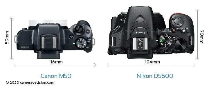 Canon M50 vs Nikon D5600 Camera Size Comparison - Top View