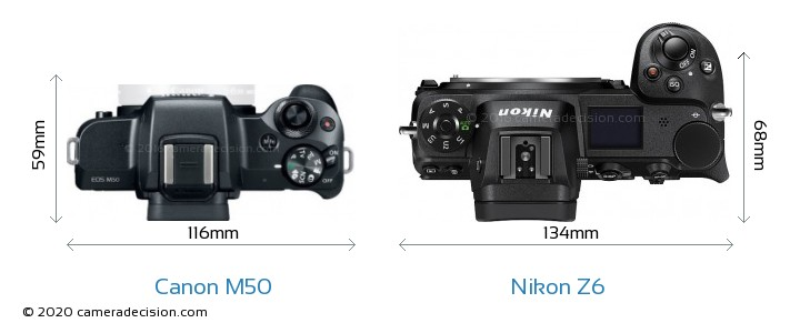 Canon M50 vs Nikon Z6 Camera Size Comparison - Top View