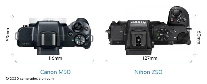 Canon M50 vs Nikon Z50 Camera Size Comparison - Top View