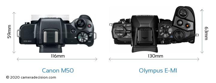 Canon M50 vs Olympus E-M1 Camera Size Comparison - Top View