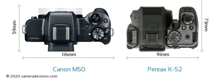 Canon M50 vs Pentax K-S2 Camera Size Comparison - Top View