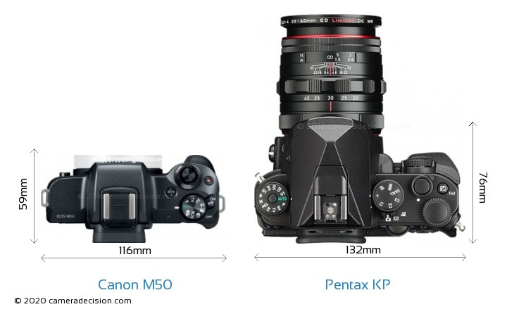 Canon M50 vs Pentax KP Camera Size Comparison - Top View
