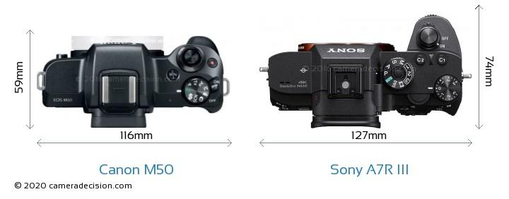 Canon M50 vs Sony A7R III Camera Size Comparison - Top View