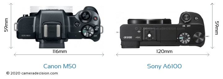 Canon M50 vs Sony A6100 Camera Size Comparison - Top View