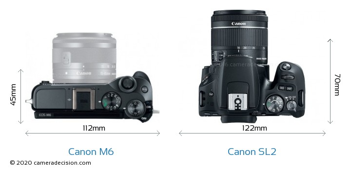 Canon M6 vs Canon SL2 Camera Size Comparison - Top View