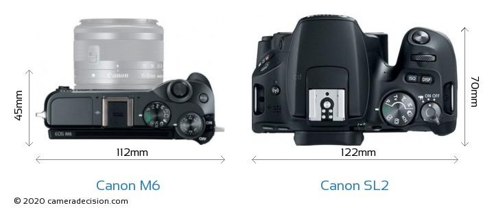 Canon M6 vs Canon SL2 Camera Size Comparison - Top View