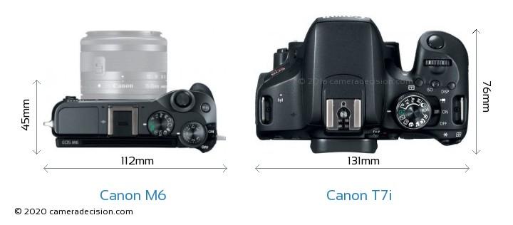 Canon M6 vs Canon T7i Camera Size Comparison - Top View