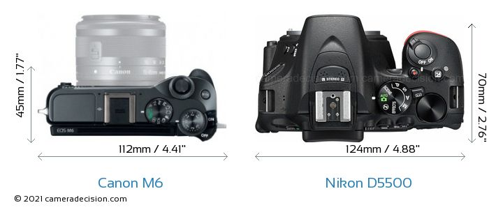 Canon M6 vs Nikon D5500 Camera Size Comparison - Top View