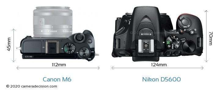 Canon M6 vs Nikon D5600 Camera Size Comparison - Top View