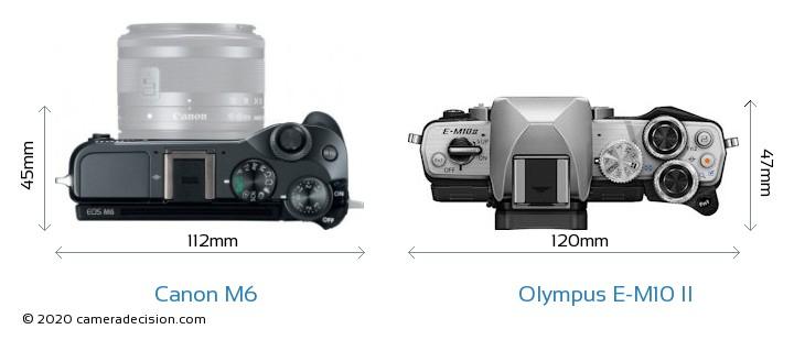 Canon M6 vs Olympus E-M10 II Camera Size Comparison - Top View