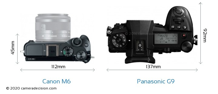 Canon M6 vs Panasonic G9 Camera Size Comparison - Top View