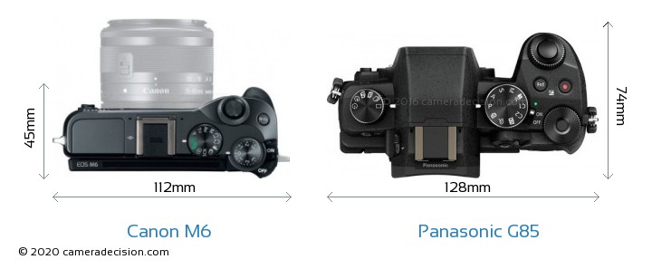 Canon M6 vs Panasonic G85 Camera Size Comparison - Top View