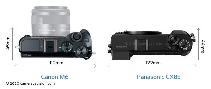 Canon M6 vs Panasonic GX85 Camera Size Comparison - Top View