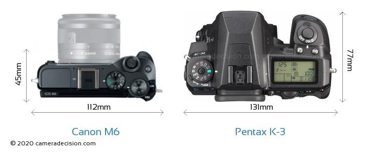 Canon M6 vs Pentax K-3 Camera Size Comparison - Top View