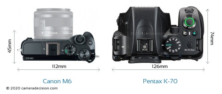 Canon M6 vs Pentax K-70 Camera Size Comparison - Top View