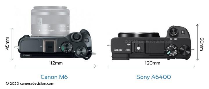Canon M6 vs Sony A6400 Camera Size Comparison - Top View